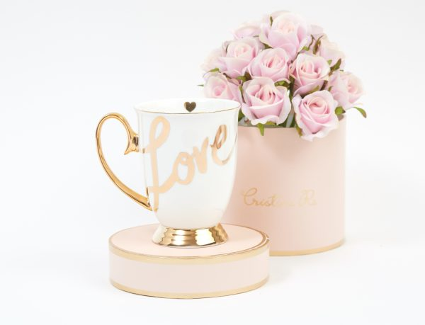 white love mug with gold plate finishing from cristina re
