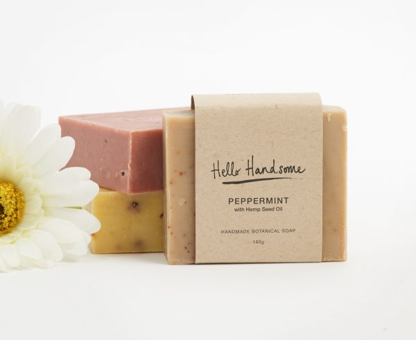 hand made soap with peppermint and hemp seed oil