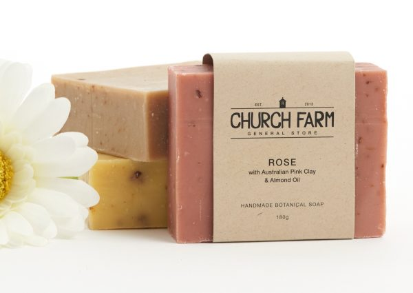 hand made soap with rose and australian pink clay