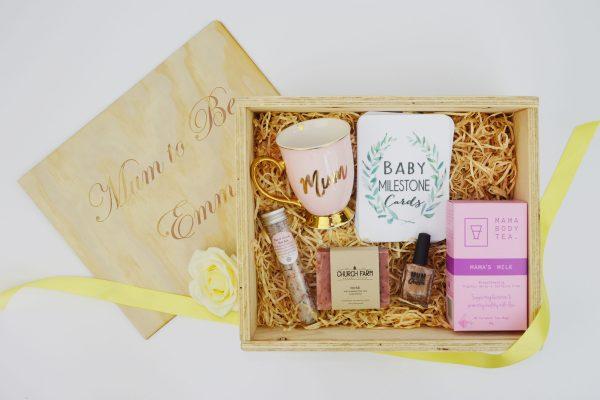 Third Trimester keepsake hamper includes mama body tea, bath salts, baby milestone cards, mum mug, soap and nail polish