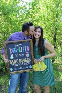 'we're so egg-cited' pregnancy announcement sign for easter announcement