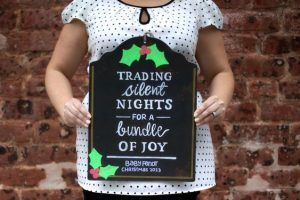 'Trading silent nights for a bundle of joy' christmas pregnancy announcement sign