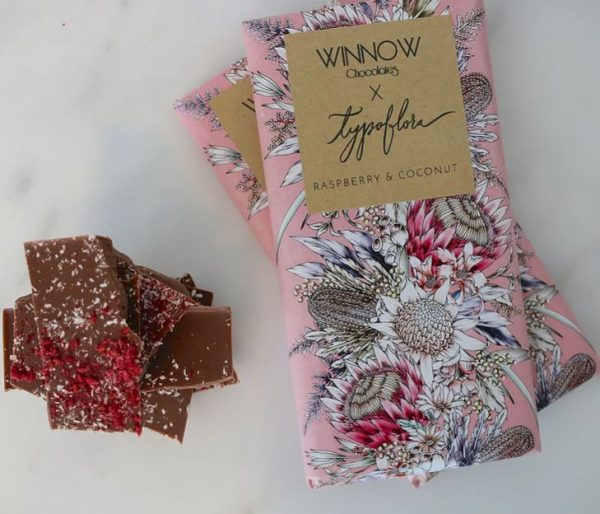 winnow chocolate handmade raspberry and coconut