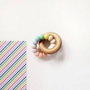 pastel rainbow teether baby gifts