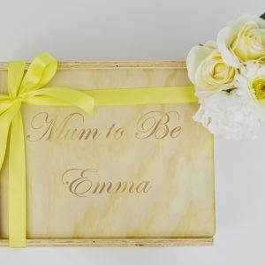 """Custom Mum to Be keepsake gift box reads """"Mum to Be Emma"""""""