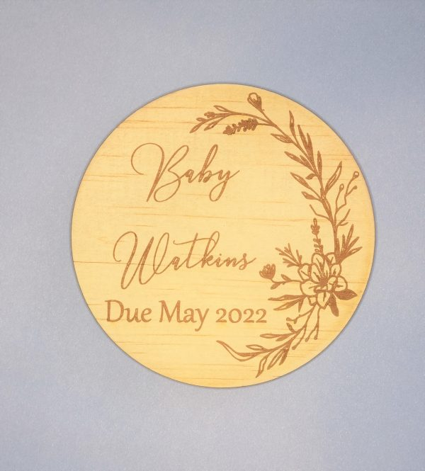 Baby due announcement plaque with magnolia embellishment