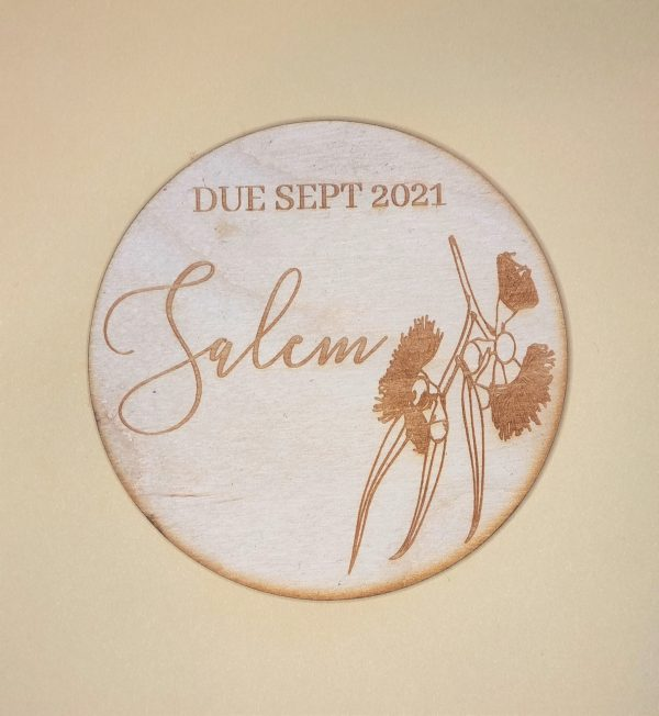 baby due announcement plaque with wattle embellishment