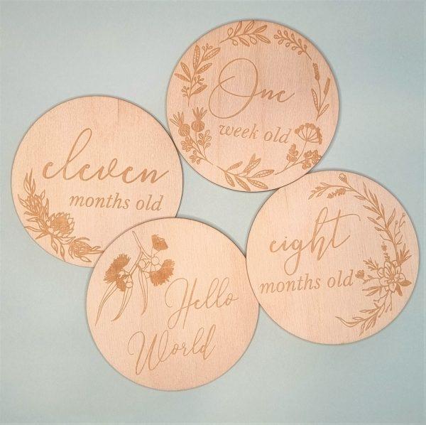 baby milestone wooden engraved discs