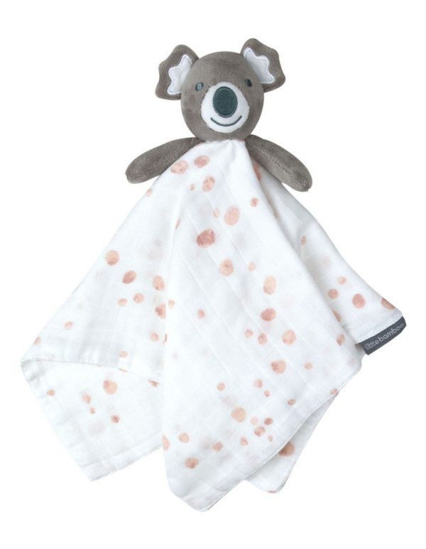 Soft comforter with muted dusty pink spots and koala body