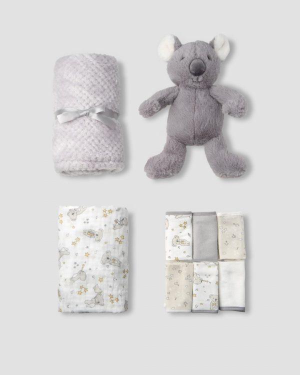 inside the cheeky koala gift set with blanket, muslin wrap, face washers and koala plushie