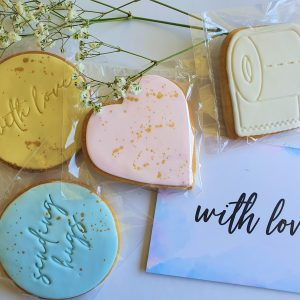 lockdown gift hamper with love card and sugar cookies