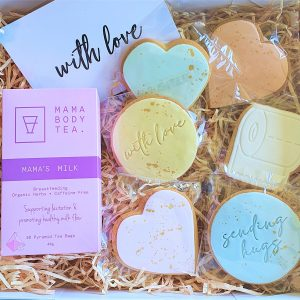 lockdown love gift box with card pregnancy tea and six sugar cookies with love heart cookie, toilet paper cookie and sending love and sending hug cookie